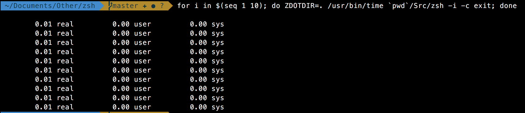 Raw zsh speeds