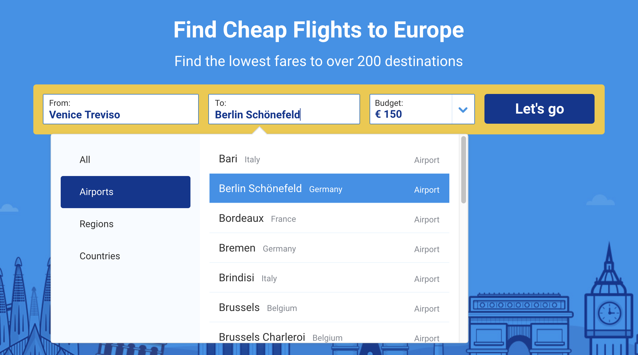 Ryanair filtered prices